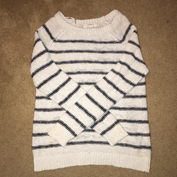 Forever 21 Sweaters - White stripped thin sweater